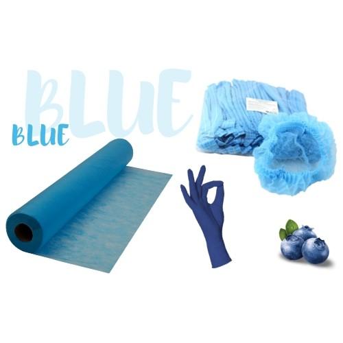 Набор одноразовых расходных материалов синий: простынь, перчатки, шапочки