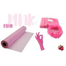 Набор одноразовых расходных материалов розовый: простынь, перчатки, шапочки