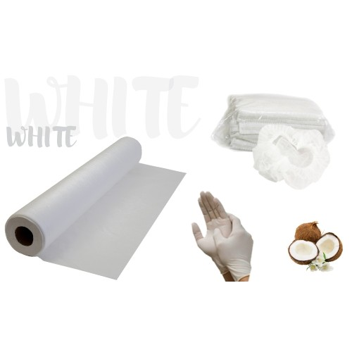 Набор одноразовых расходных материалов белый: простынь, перчатки, шапочки