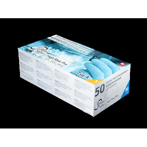 Перчатки нитриловые без пудры химическая защита SOLID SAFETY HIGH RISK PRO 081307-L