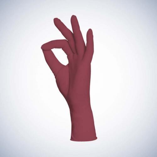 Перчатки нитриловые бордовые без пудры Ampri Style color Grape 01186-L